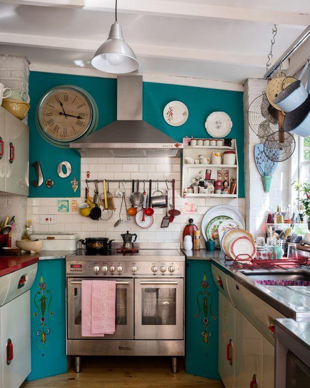 Turkusowa Kuchnia Eclectic Kitchen English Rose Kitchen Quirky Kitchen