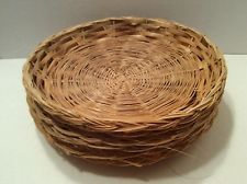 6 Wicker Rattan Vintage Paper Plate Holders C&ing Picnic RV BBQ Potluck 9 : wicker plate holders for paper plates - pezcame.com