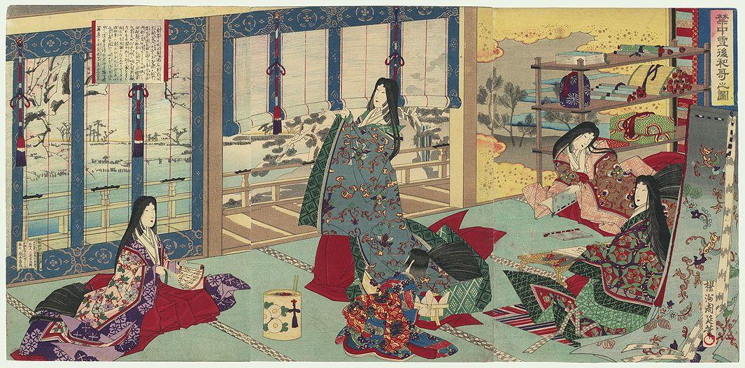 Chikanobu (1838 - 1912) Sei Shonagon at the Imperial Palace | Japanese woodblock printing, Japanese painting, Japanese