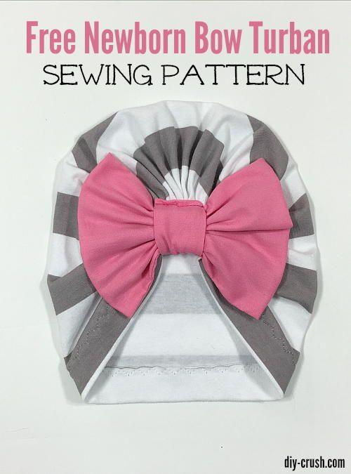 Baby Bow Turban Beanie Sewing Pattern | Nähen, Nähen fürs Baby und Mütze