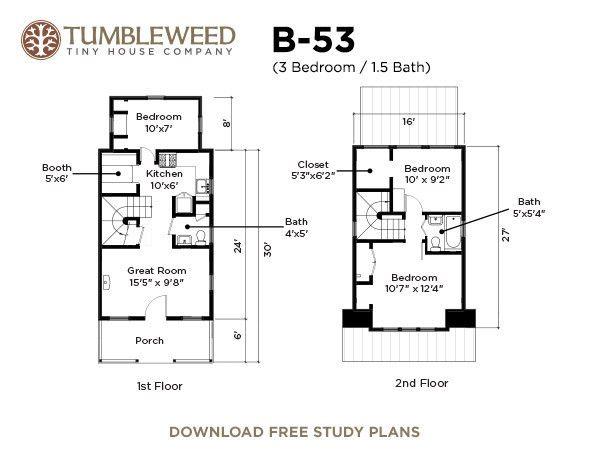Tumbleweed Tiny House Floor Plans: B 53 Tumbleweed Tiny House