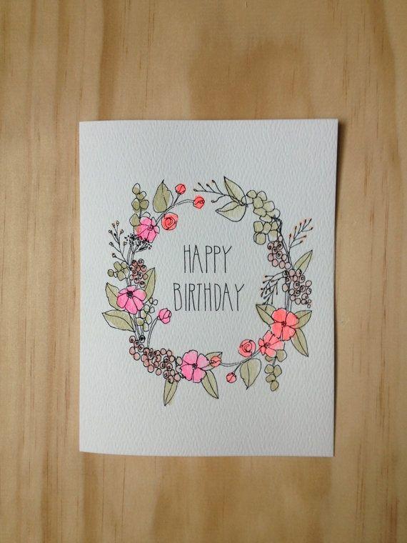 Floral Wreath Birthday Card by HartlandBrooklyn on Etsy, $4.50: