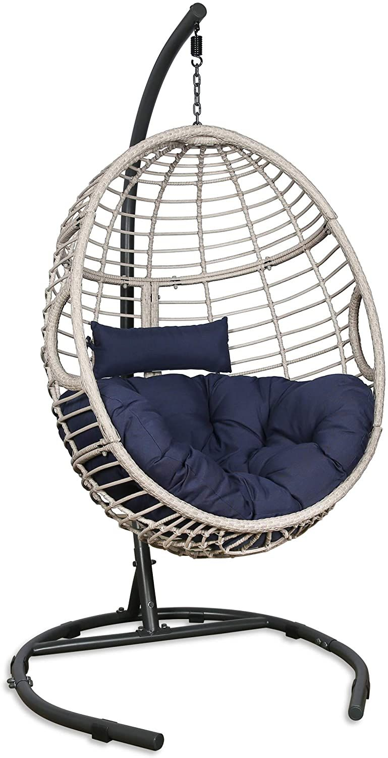 Patio Tree Outdoor Basket Swing Chair Hanging Tear Drop Egg Chair With Stand Navy In 2021 Swinging Chair Hammock Chair Stand Hanging Egg Chair Hanging egg chair with stand
