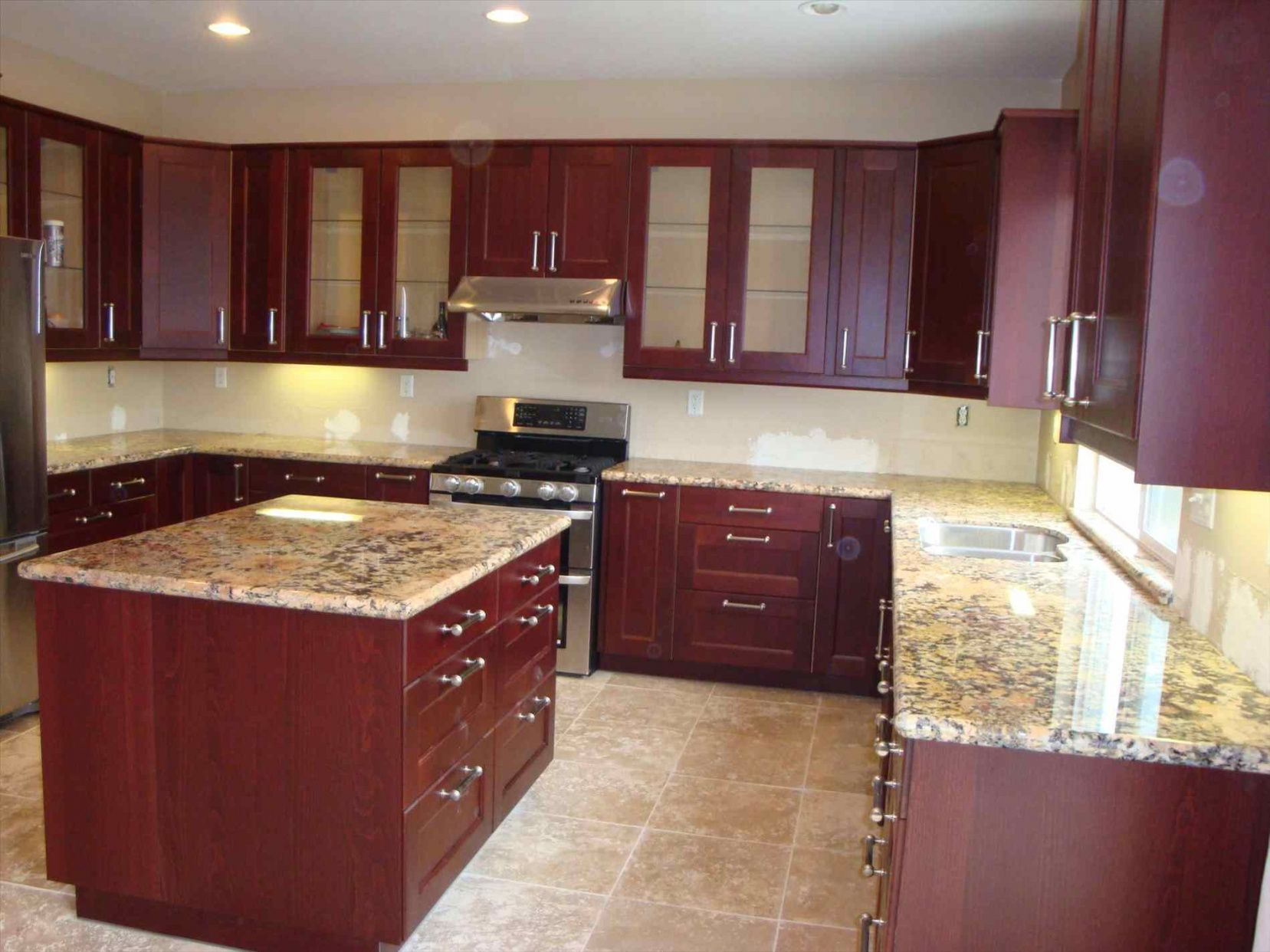99 Cherry Cabinets With Quartz Countertops Kitchen Counter Top