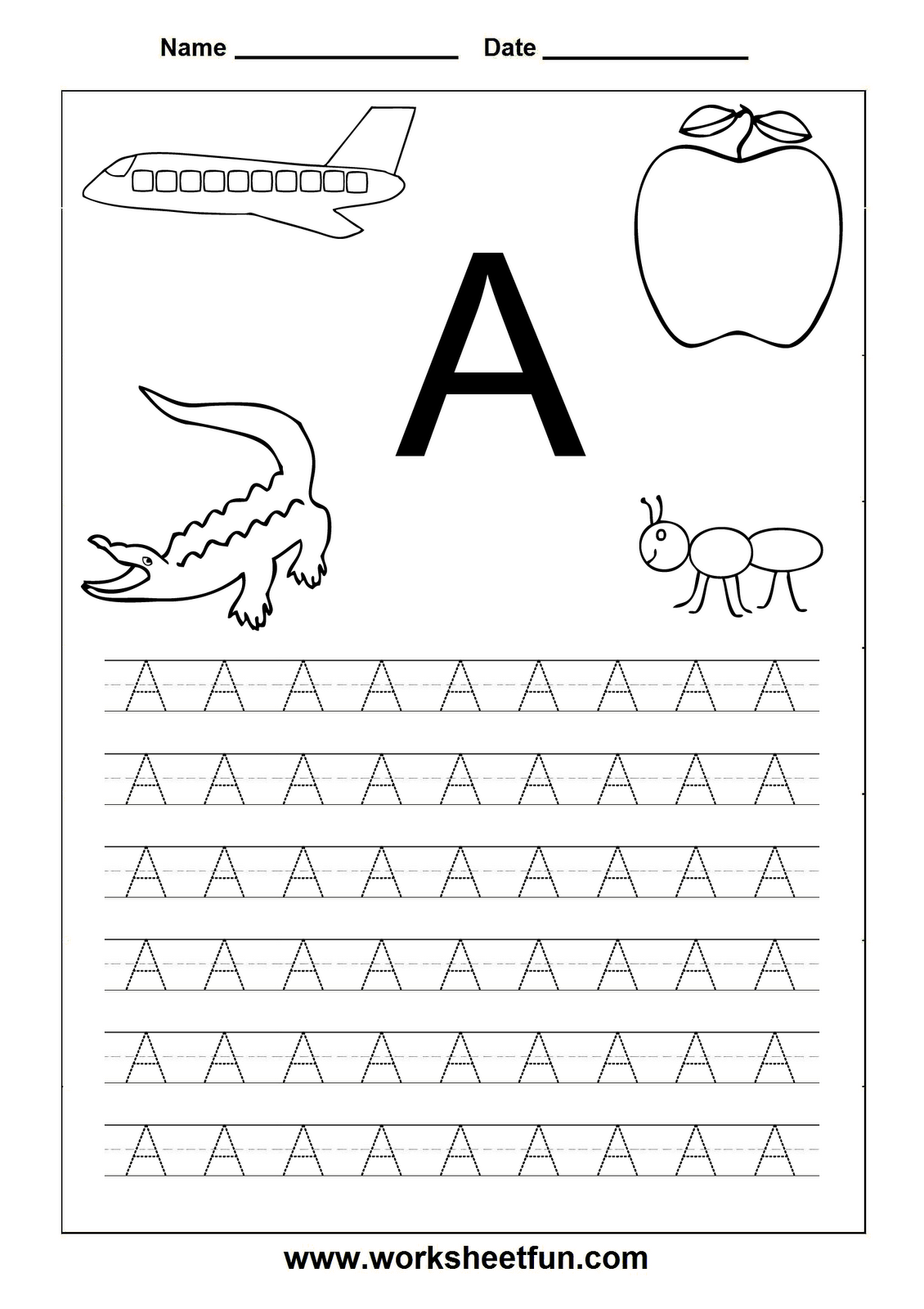 Letter Worksheets For Kindergarten Printable Letters – Tracing Letter a Worksheet