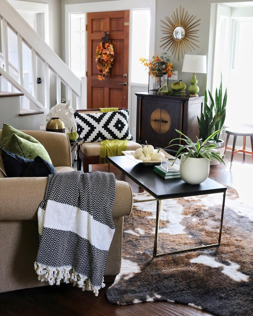 Living Room with Faux Cowhide Rug Retro home decor, Fall