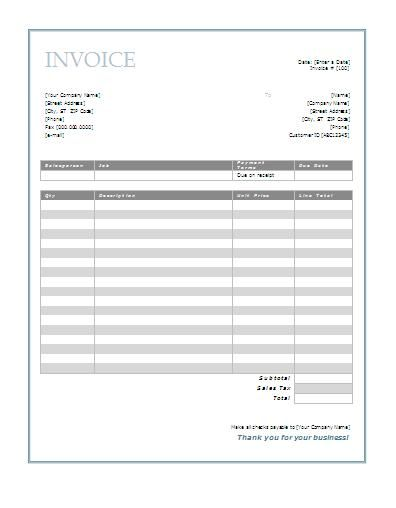 Free Invoice Template For Word  Print It    Printable
