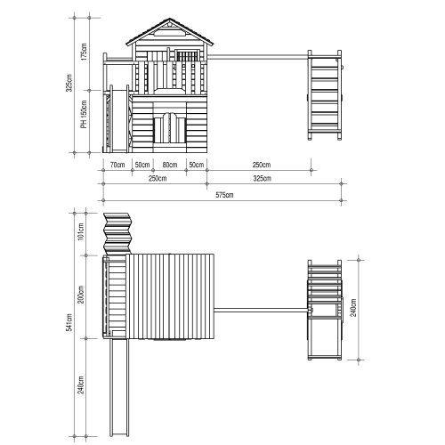 Großartig ISIDOR Western Inn Spielturm Kletterturm Rutsche 2 Schaukeln  YU53
