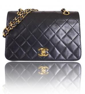 80d92e6825f6ce Authentic Chanel Black Lamb Skin 3way Classic Flap Bag 1980´s | hand ...