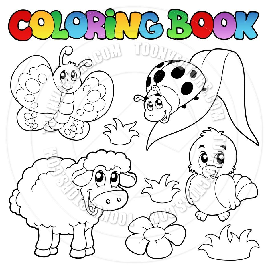 Coloring Book Cartoon Spring Face | Cartoon Coloring Book Spring Animals