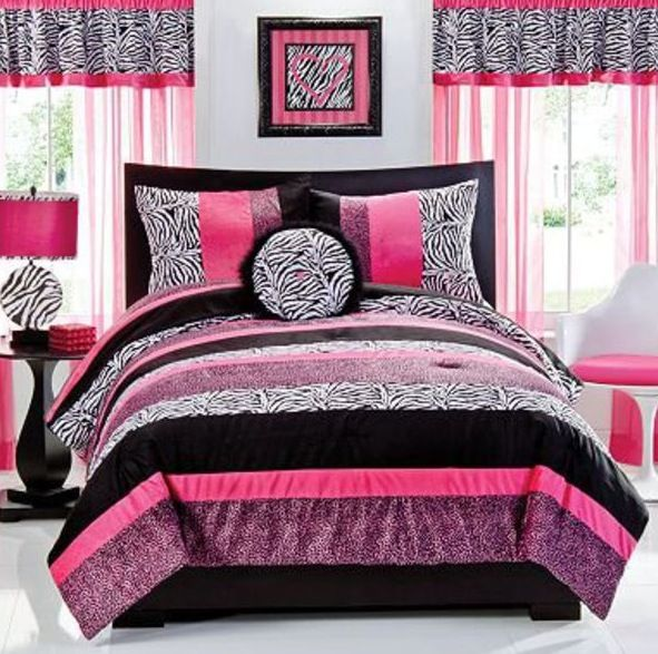 Interior Seventeen Bedroom Ideas seventeen gigi comforter set 3 pc pink black leopard zebra print full new