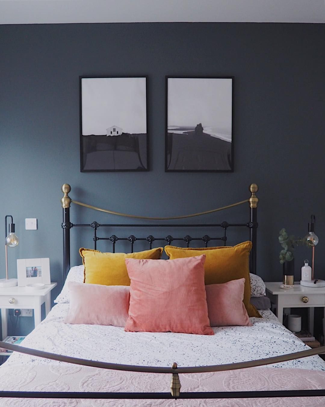 Blush, Mustard And Navy Blue Bedroom With Gorgeous