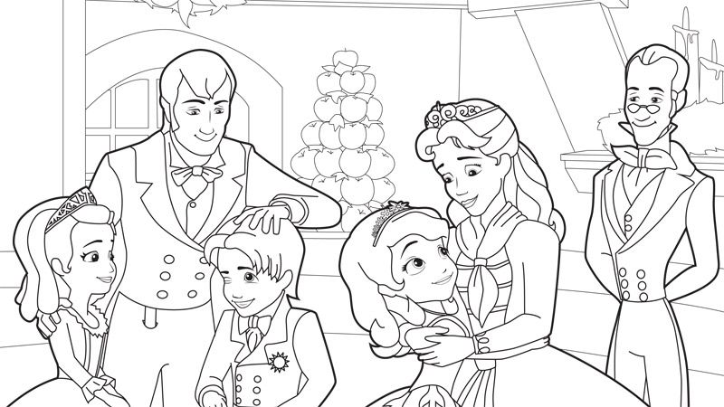 Holiday Sofia And Family Coloring Pages Disney Junior