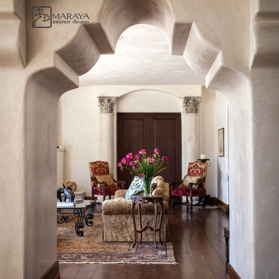 Moorish inspired Spanish Villa by Maraya Interior Design, with thick plaster arches and stone columns.  Montecito home with oak plank flooring.  #interiors #interiorstyling #interiorstyled #interiorstylist
