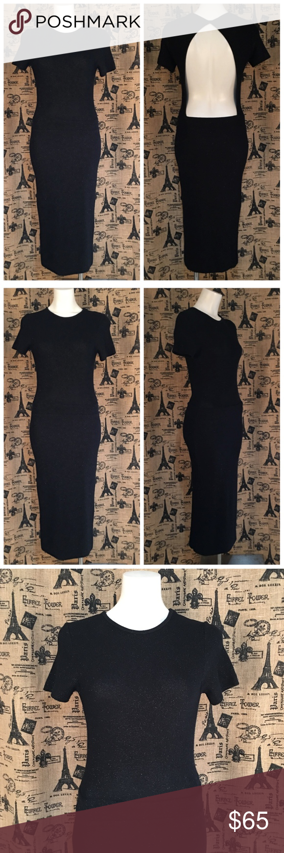 b60e9464 Zara Knit Black Open Back Maxi Dress Size M Brand: Zara Knit Size: M ...