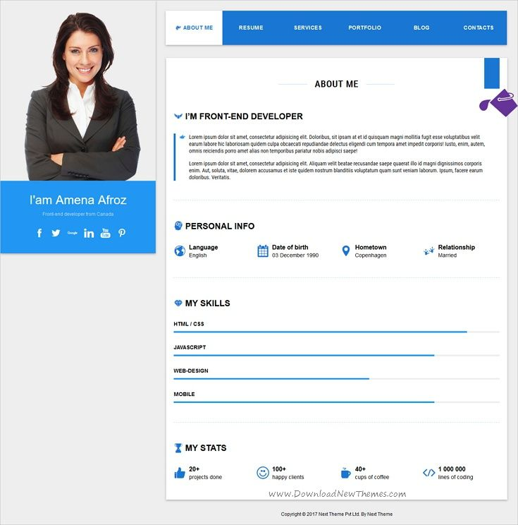 WebFolio vCard\/resume template Template, Modern resume and Resume cv - resume website template