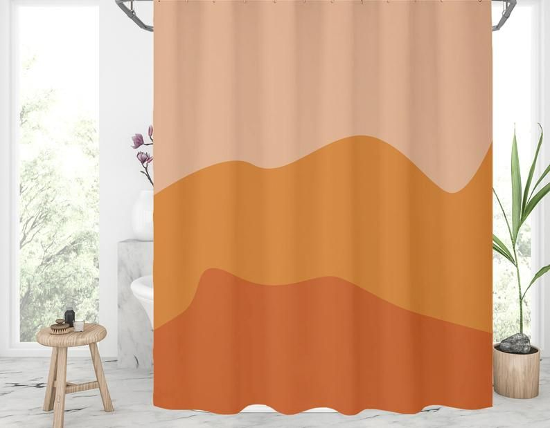 Burnt Orange Shower Curtain Abstract Shower Curtains Burnt Etsy In 2020 Orange Shower Curtain Abstract Shower Curtain Yellow Shower Curtains