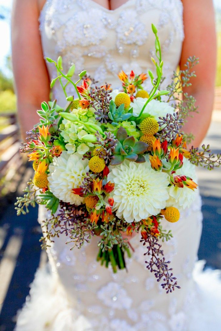 Bridal Bouquet: White Dahlias, Yellow Craspedia (Billy Balls, Billy Buttons), Green Succulents, Eucalyptus Seeds, Additional Coordinating Florals & Foliage