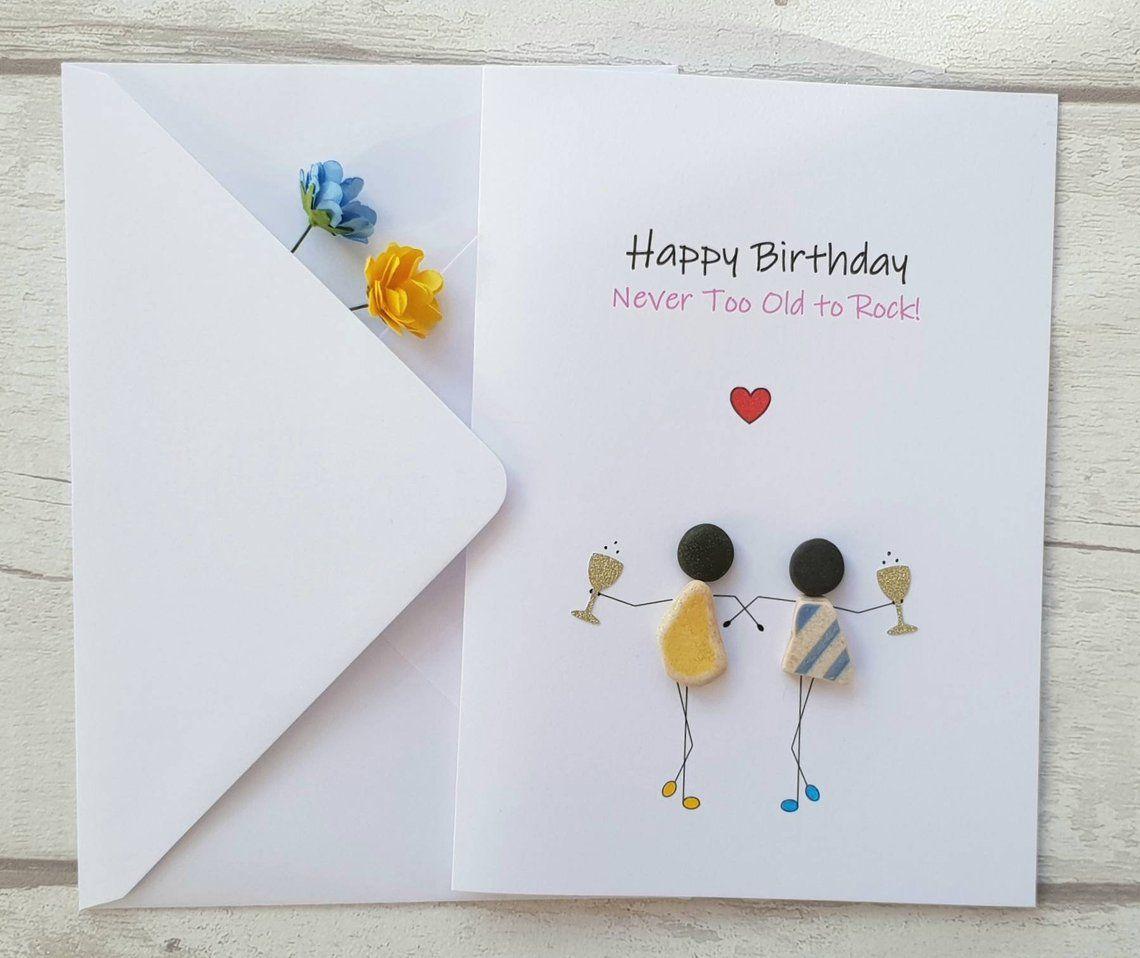 Handmade Best Friend Birthday Card Bff Pebble Art Card For Etsy Handmade Birthday Cards Unique Birthday Cards Birthday Cards For Friends