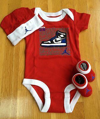 b1a2052c958f70 NIKE AIR JORDAN NEWBORN BABY BOY INFANT 3-PIECE GIFT SET 0-6M NEW ...