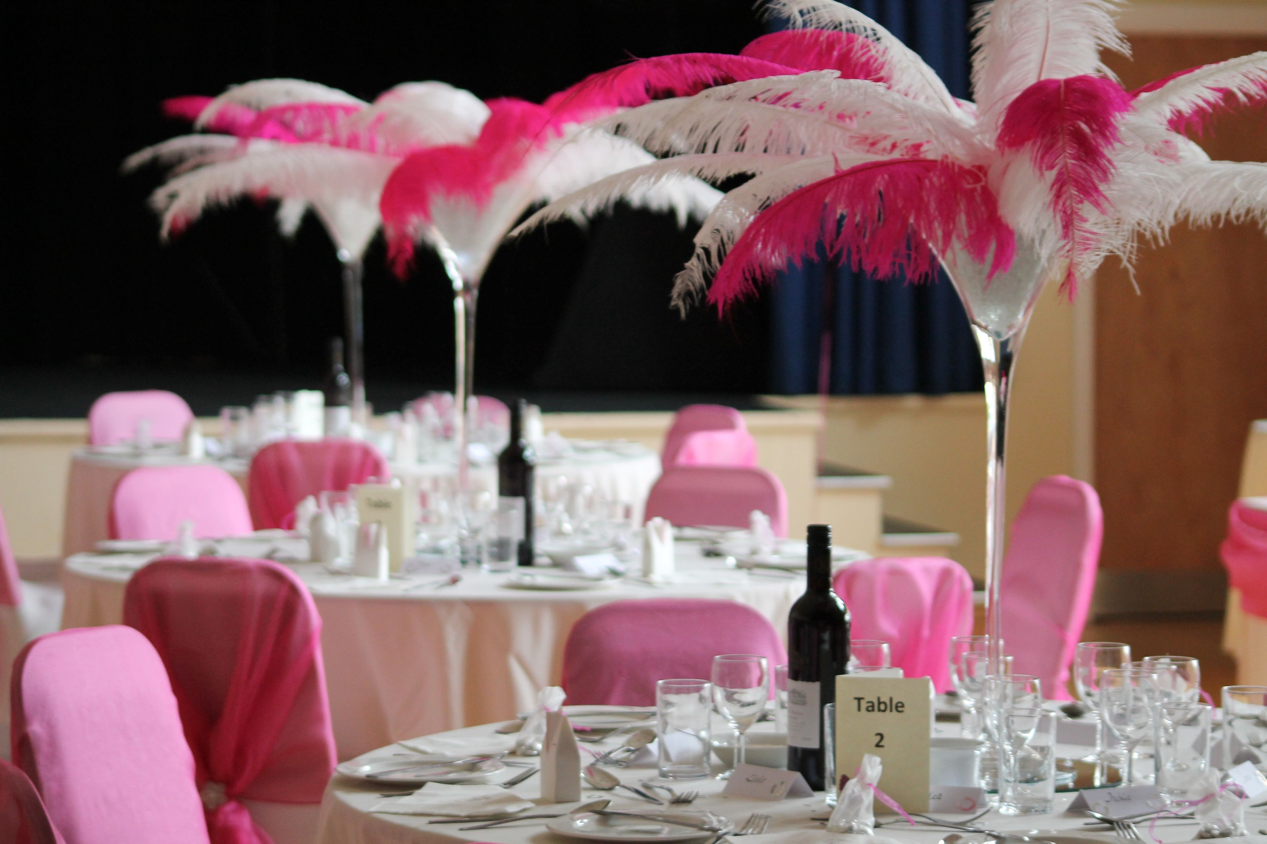White ostrich feather centerpiece topsimages