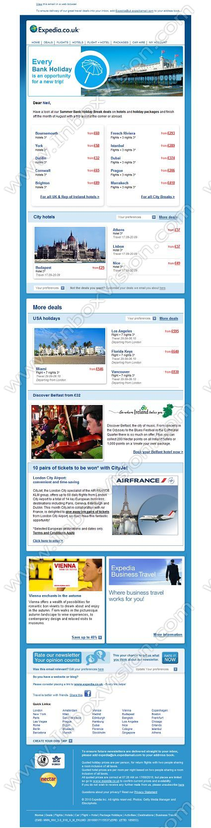 Company Expediauk Subject Our Top Bank holiday deals - holiday newsletter template