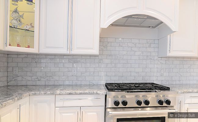 Carrera Marble Herringbone Backsplash