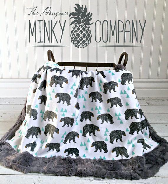 Bear Baby Blanket Mint Geo Bear Designer Minky Grey