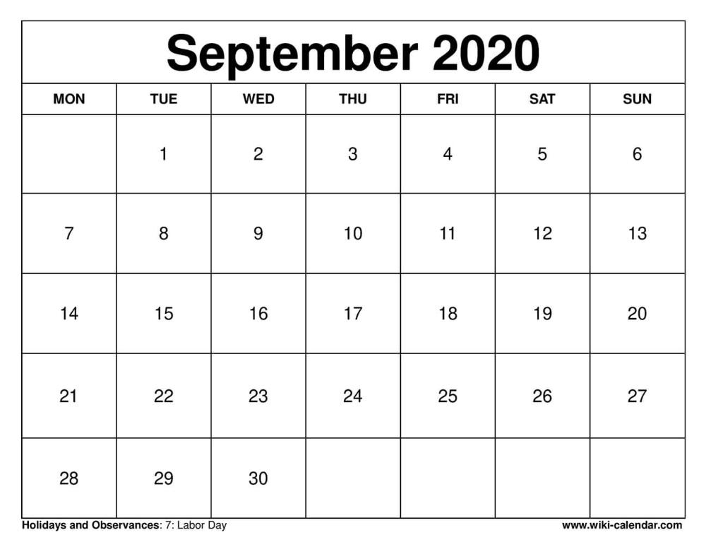 September 2020 Printable Monday Calendar #September2020 # ...