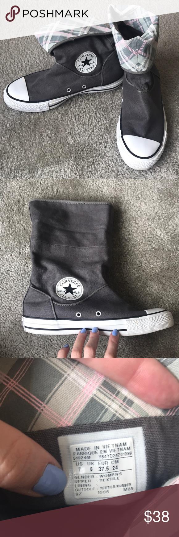"Converse ""rain boots"" Grey with plaid inside. Kind of a rain"