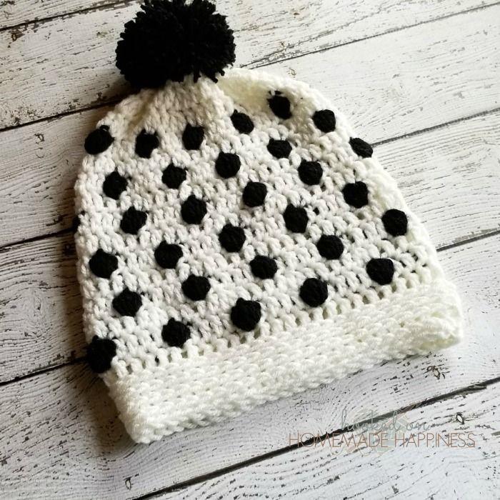 Black & White Bobble Crochet Beanie | Crocheted Hats | Pinterest ...