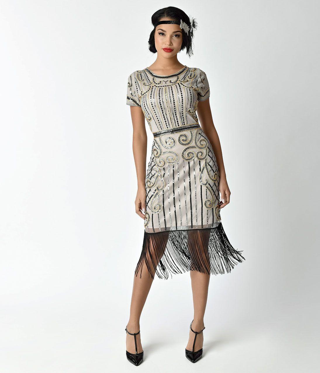Unique Vintage 1920s Grey Beaded Sequin Sleeved Noemie ...