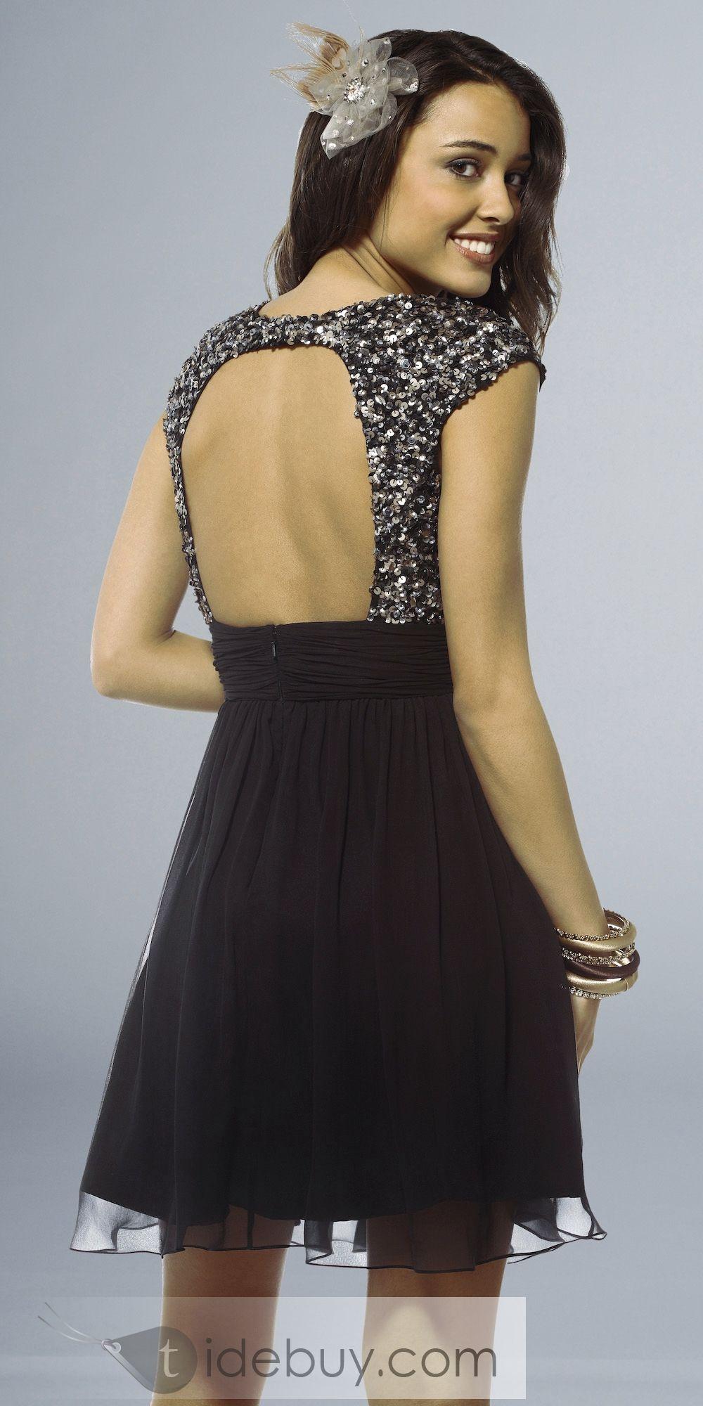 Black dresses for wedding  Luxurious Aline VNeck MiniShort Black CocktailEvening Dress