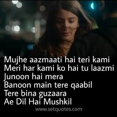 Image result for ae dil hai mushkil quotes SHAYARI