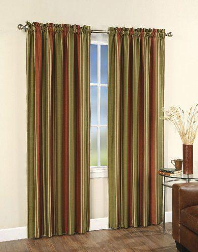 Faux Silk Stripe Lined Curtain Panel 42 In W X 84 In L By