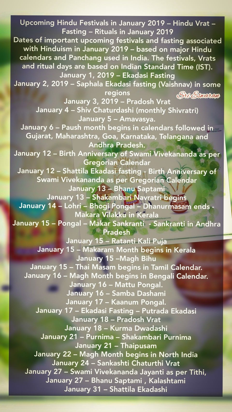 Upcoming Hindu Festivals In January 2019 Hindu Vrat Fasting