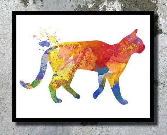 Cat Watercolor Archival Art Print Children Wall by BogiArtPrint