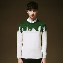 2016 Autumn & Winter Christmas Tree Jacquard Sweater Men Pullover Men Sweater Brand Casual O-neck Mens Sweaters 3 Colors 6601(China (Mainland))