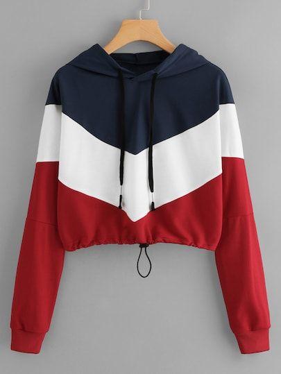 Shop Color Block Hooded Sweatshirt online. ROMWE offers Color Block Hooded Sweat... 3