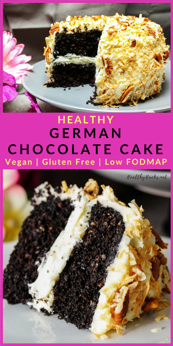This healthy German Chocolate Cake recipe is soft and moist and full of wholesome ingredients! The frosting is creamy, coconut, and low in sugar. And you can make as many layers as you want! Make a small batch or feed a crowd with this delicious chocolate cake! #germanchocolatecake #healthydesserts #healthyrecipes #chocolate #cakerecipes #coconut #HealthyHacks #chocolatecake