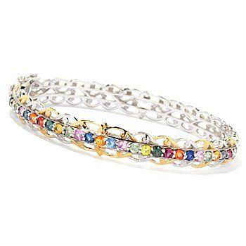 Gems en Vogue II 2.08ctw Multi Sapphire Hinged Bangle Bracelet