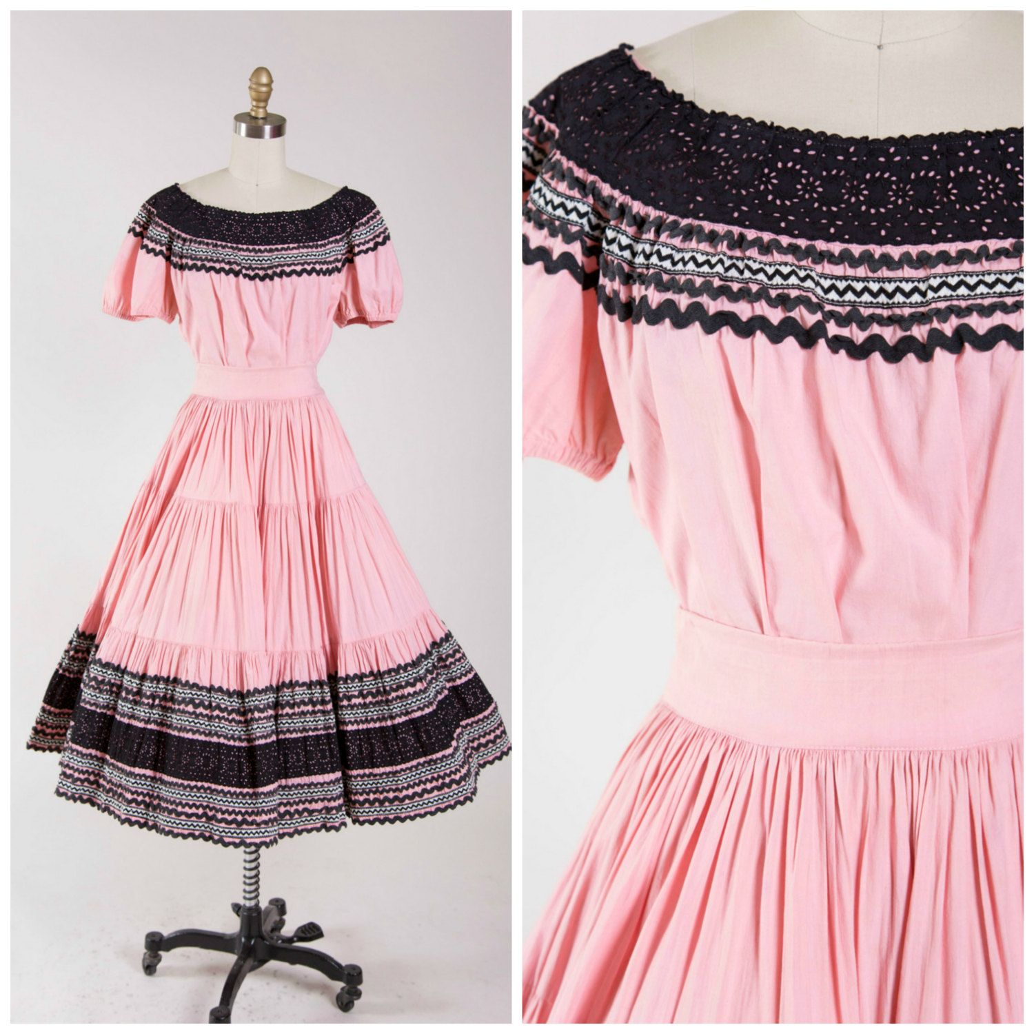Vintage 50s Fiesta Dress • Rosy Horizon • Pink Black Cotton 1950s ...