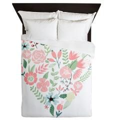 Floral Heart Custom Duvet Cover #bedding #bedroom #decor #homedecor #interior #design