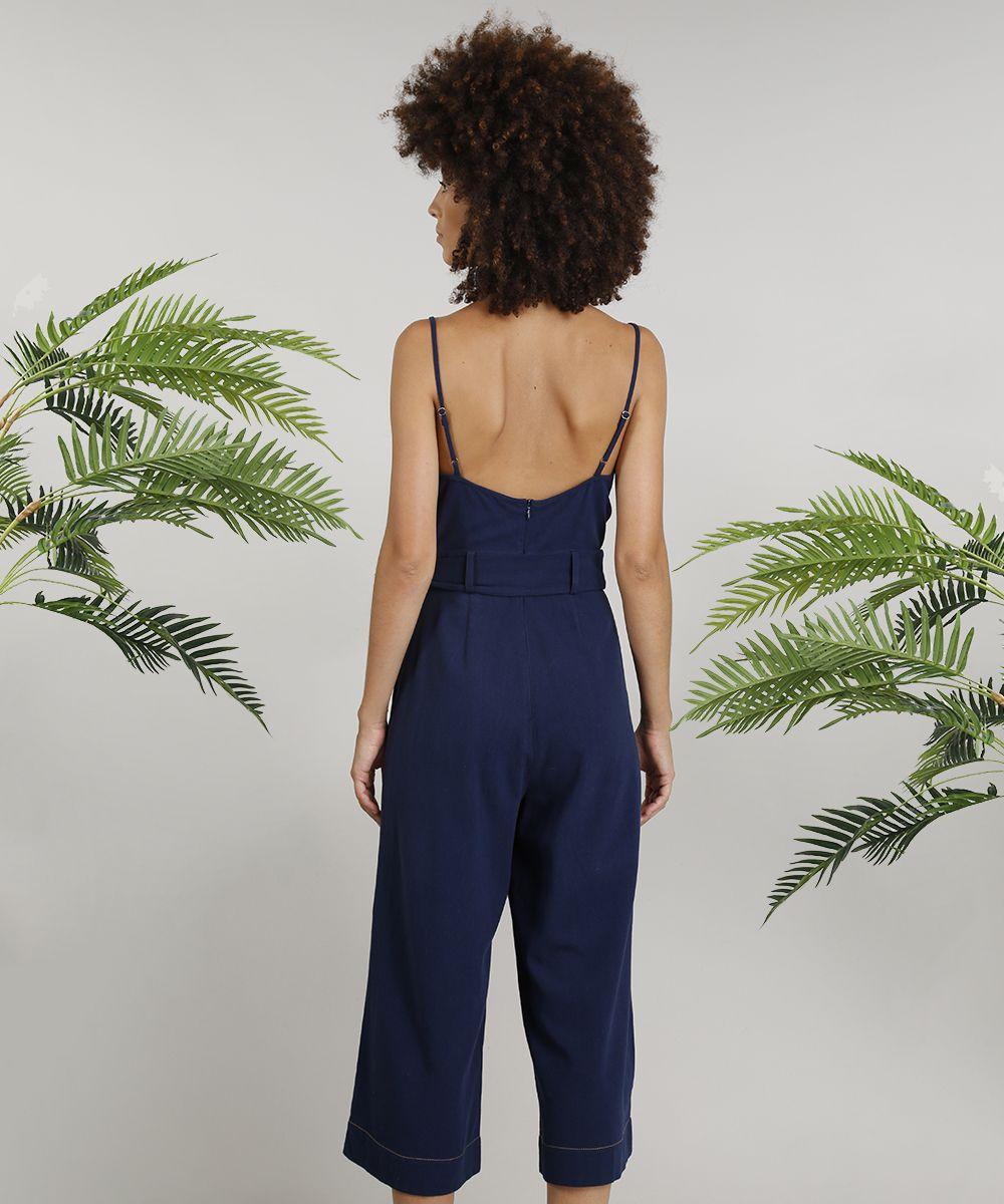 476929a84 Macacão Pantacourt Feminino Dress To Linho com Faixa de Amarrar Azul ...