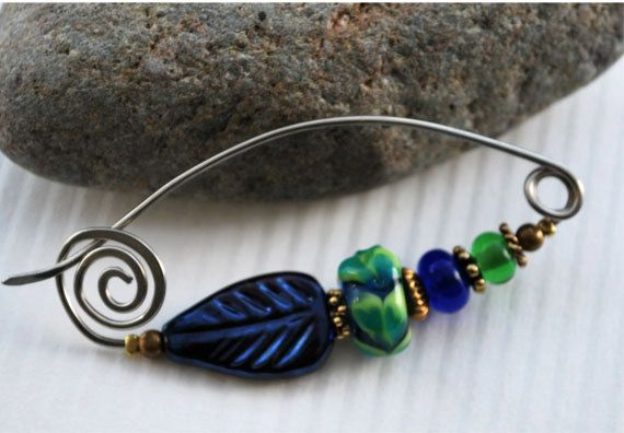 Glass Leaf and Bead Fibula Pin - Handmade Glass Beads and Pin