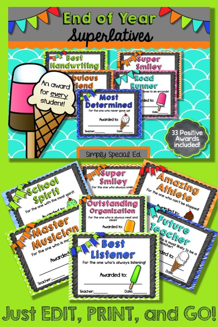 End of Year Classroom Superlatives- EDITABLE Students - school certificates pdf
