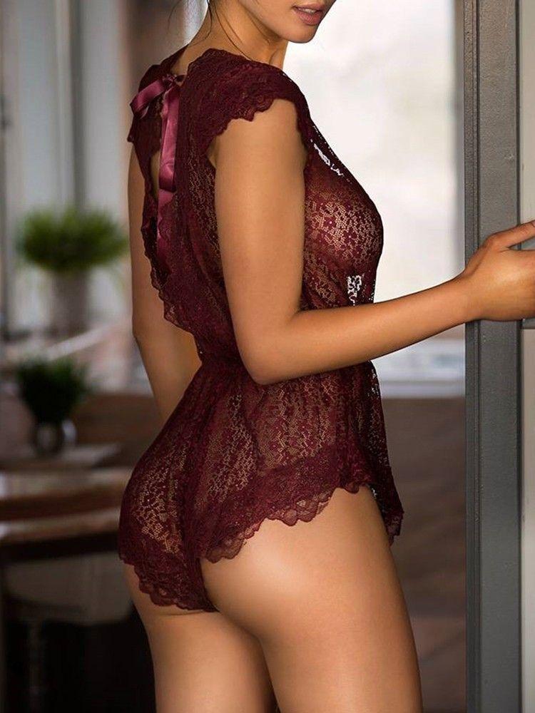 5b1170d81 Eyelash Lace Plunge Tie Open Back Lingerie (S M L XL)  17.99 ...