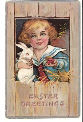 Vintage Postcard Easter Child White Rabbit 1900s 1910s Bunny Card