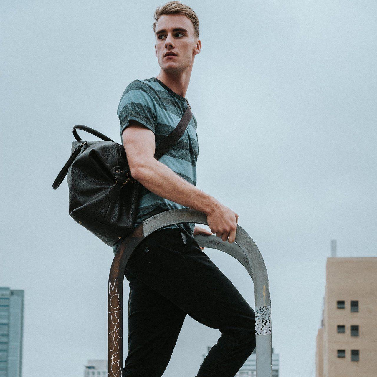 Gunner Brown Vegan Leather Duffle Bag In 2020 Leather Duffle Leather Duffle Bag Leather