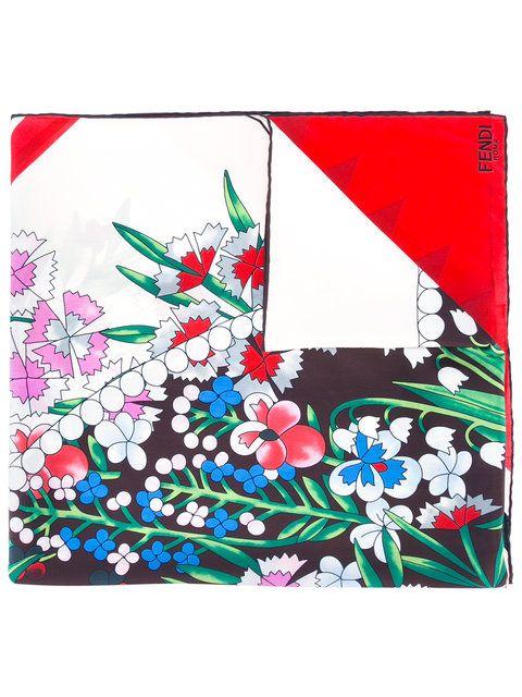 floral bufanda Fendi con bufanda estampado con estampado Fendi fz0wqIg